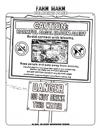Farm Harm coloring page - Algal bloom warning